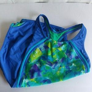 Girls Speedo Blue Tie Dye Racer Back Swim Suit 14